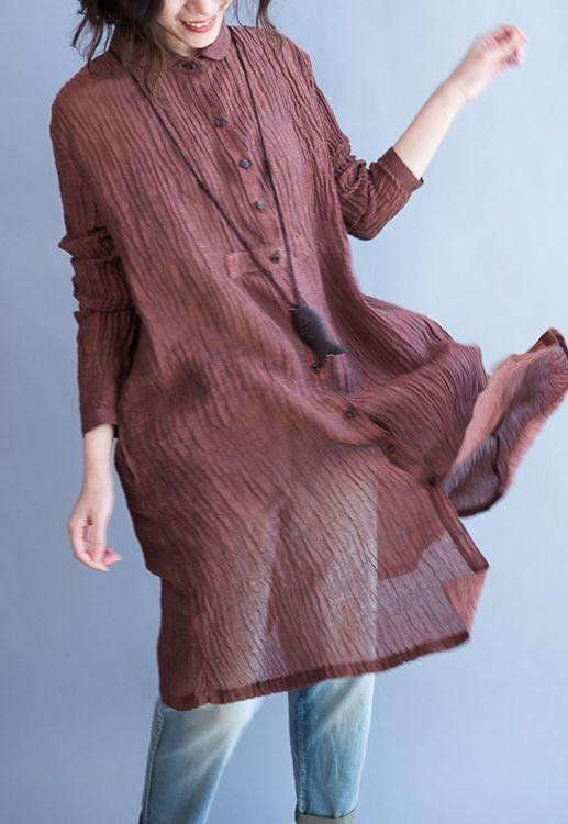 Original design Ruby pleated linen dresses long sleeve linen shirts plus size linen clothing