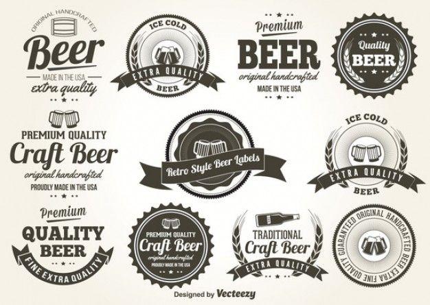 Jogo de etiquetas personalizáveis cerveja do vintage