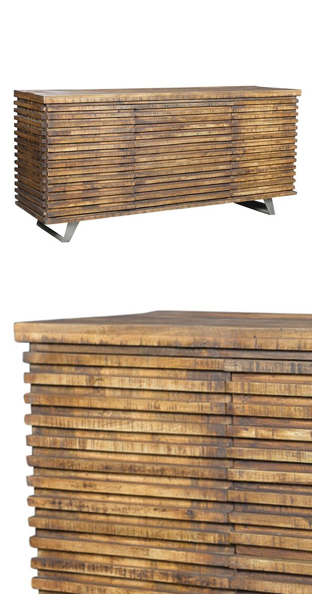 The Kearney Sideboard represents everything you'd want in a nature-inspired room motif. Woodsy and natural, its symmetrical strips create texture and emit a warm vibe while camouflaging two side cabine...  Find the Kearney Sideboard, as seen in the White Washed Industrial Collection at http://dotandbo.com/collections/white-washed-industrial?utm_source=pinterest&utm_medium=organic&db_sku=114852