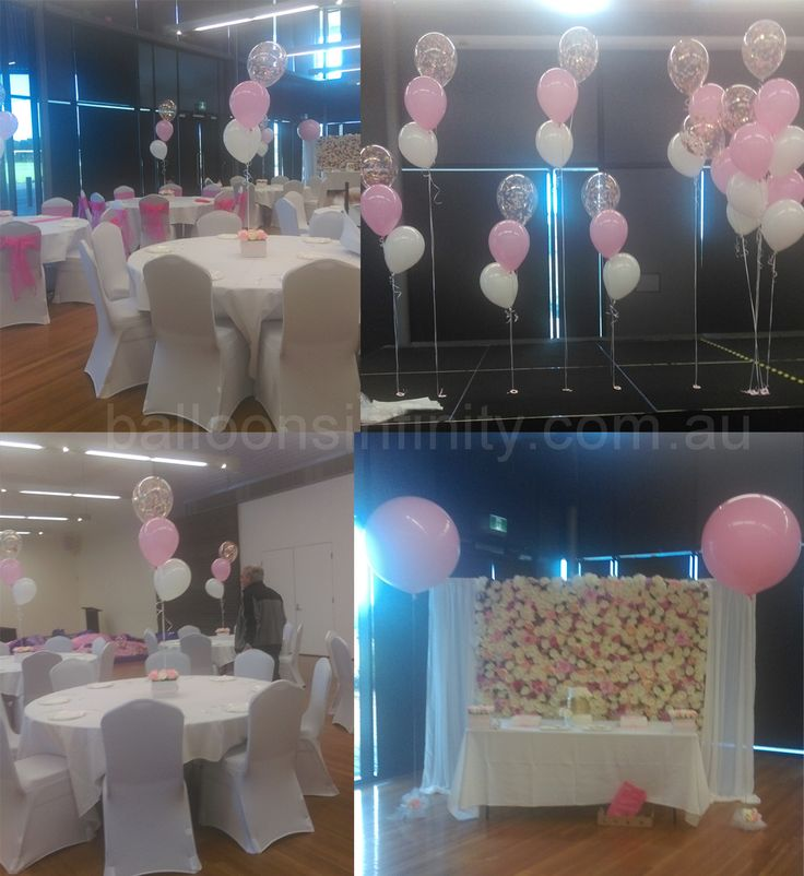 Large pink latex balloons with pink, white and confetti balloon table centrepieces. #large3footballoons #tablebouquets #heliumballoons #confettiballoons