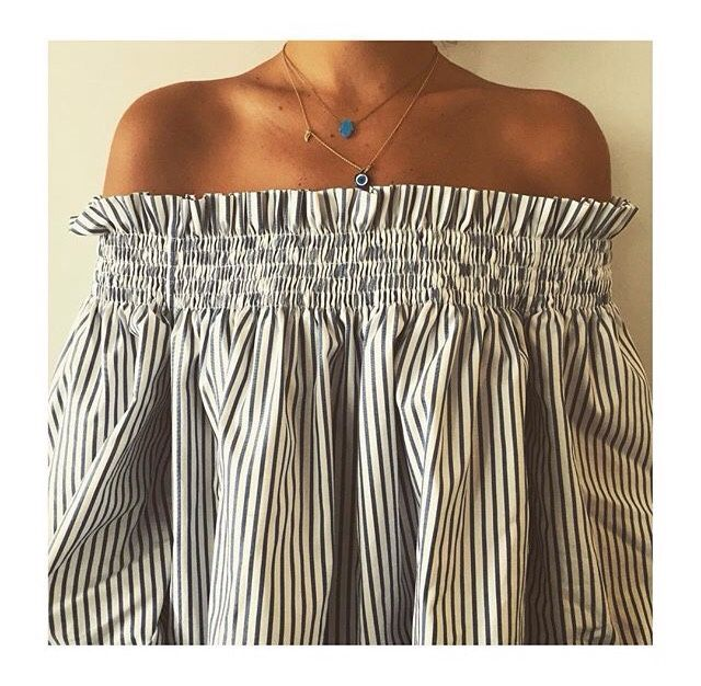 Off the shoulder | Stripes chanel bags and cigarette drags