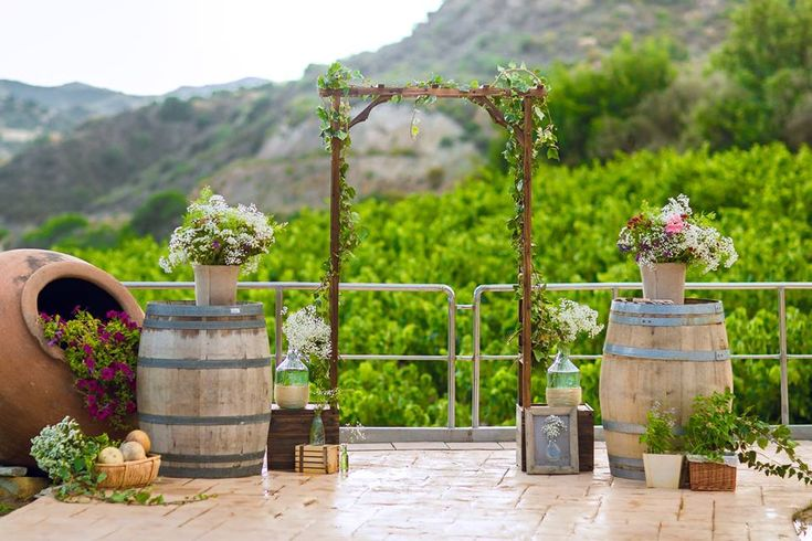 wedding arch and decoration on winery