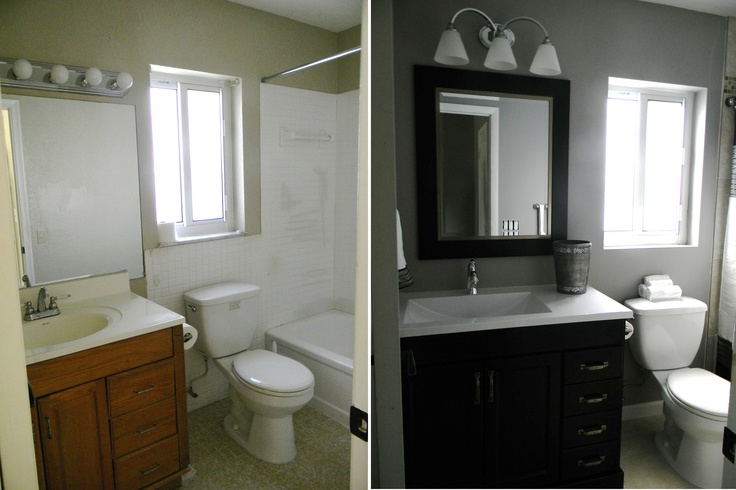 Small bathroom renovation on a budget dream bathroom designs pinterest toilets grey and for Remodel a bathroom on a budget