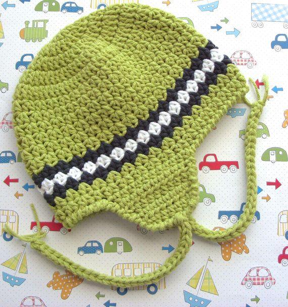 Boy Earflap Hat, Easy Crochet Pattern, Striped Beanie Cap ...