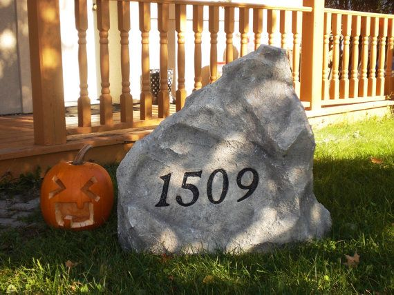 "Regular Size 20"" x 20"" x 10"" - Artificial Address Stone - any color, text and design available"