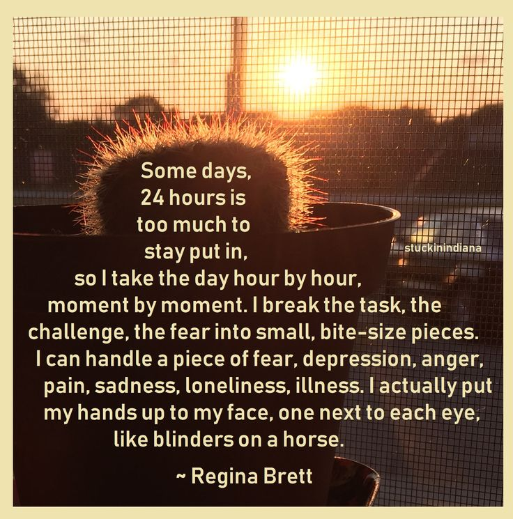 """""""Some days, 24 hours is too much to stay put in, so I take the day hour by hour, moment by moment. I break the task, the challenge, the fear into small, bite-size pieces. I can handle a piece of fear, depression, anger, pain, sadness, loneliness, illness. I actually put my hands up to my face, one next to each eye, like blinders on a horse."""" ~ Regina Brett #quotes"""