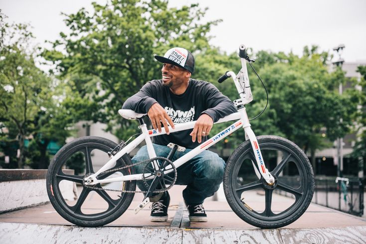 rides a Skyway TA BMX bike  photographed At Mullaly Skate Park, The Bronx