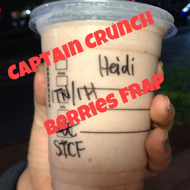 Starbucks Strawberry & Cremes Frap + 1 pump toffee nut + 1 pump hazelnut = Captain Crunch Berries! No joke it taste just like it! Try it next time you go to Starbucks.