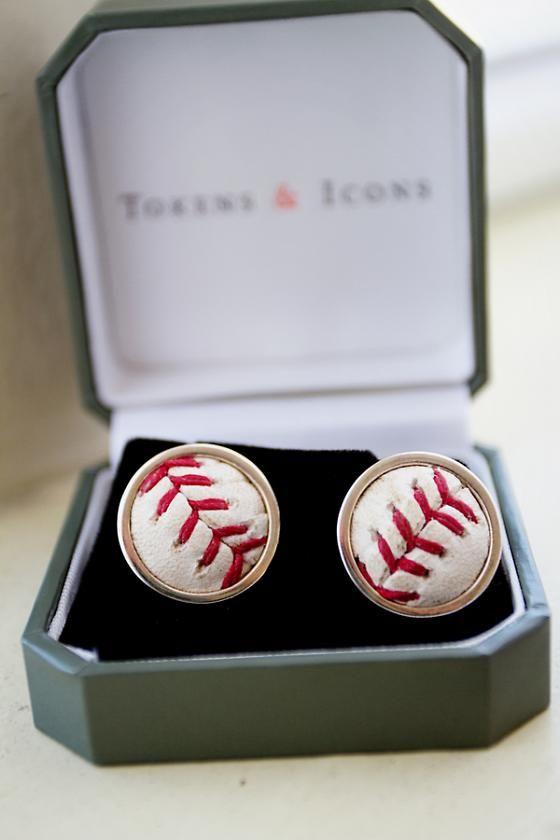 """Baseball earrings for a """"Grand Slam"""" Sonoma Wedding."""