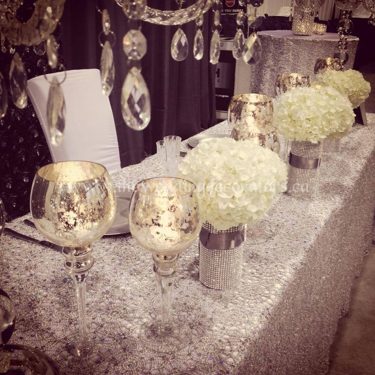 Crystal Silver Bling White Decor For Head Table Amp Cake Table