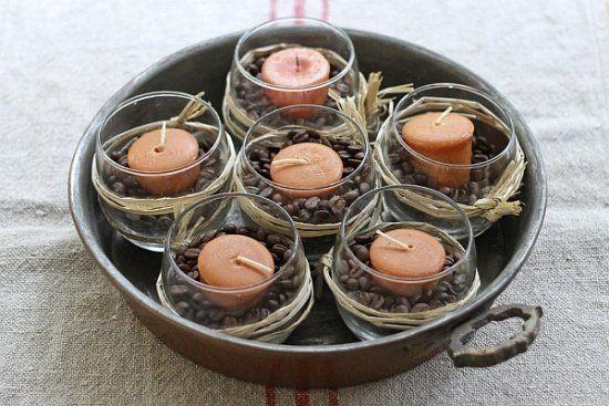 décoration photophore avec grains de caffé et ruban raphia