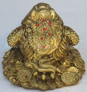 Chinese Old china fengshui BRASS copper Wealth money Golden Toad frog beast statue decoration BRASS factory outlets #Affiliate