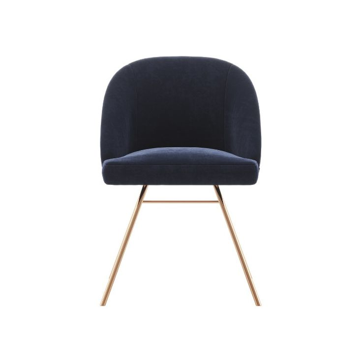 Shop the Look: Bring Your Decor Up With Deep Blue Dining Chairs - Lorenis a Scandinavian designchairwith blue fabric upholstery and copper-colored stainless steel legs. A great addition to your dining room decor.