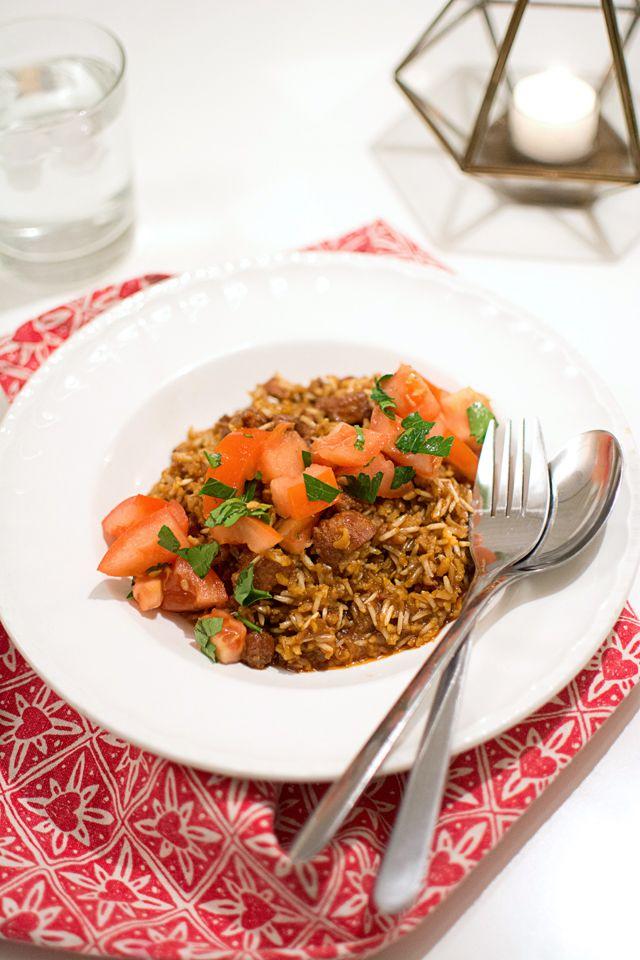 Kryddigt korvris med färsk salsiccia