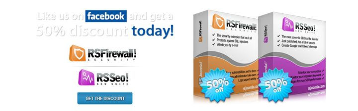 Are you an RSJoomla! Facebook follower? Then you surely found out about the 50% discount on the Joomla! #SecurityExtension and #SEO tool extension. If you liked the Facebook page you should see the #discount codes here: http://on.fb.me/1dFVCBf