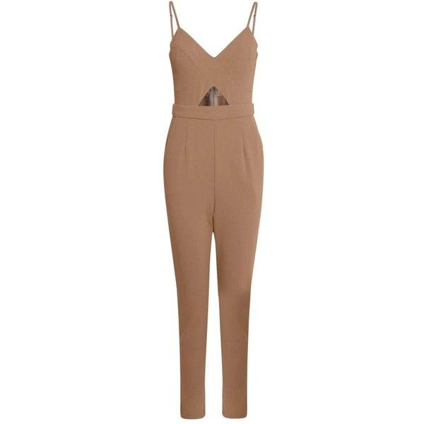 Boohoo Lucie Cut Out Jumpsuit ($18) ❤ liked on Polyvore featuring jumpsuits, holiday jumpsuits, evening jumpsuits, cutout jumpsuits, disco jumpsuit and denim jump suit