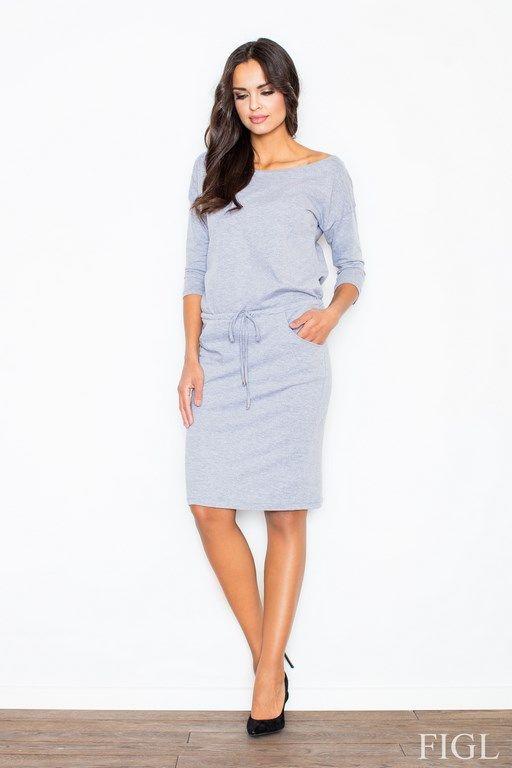 Dzianinowa szara sukienka wiązana w pasie