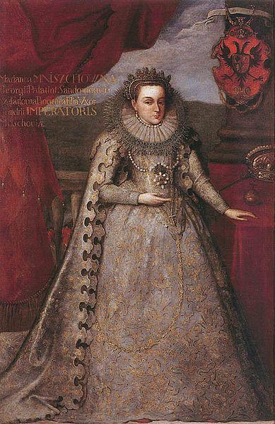 Marina Mniszech in coronation robes, 1606.
