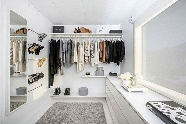 This has got to be the best DIY budget walk in wardrobe in the world, transformed by the amazing  Nina Holst @stylizimoblog  check her blog for details - shoe rack made with IKEA rails entire project under $800