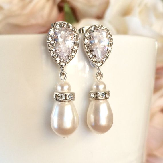 white swarovski pearl bridal earrings with cubic zirconias by ColourAndSparkle