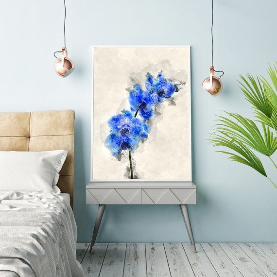 Flower poster, Orchid poster, Wall decor art, PRINTABLE art, Flower wall art, Flower decor, Blue Orchid Flower, Floral blue decor, Wall art