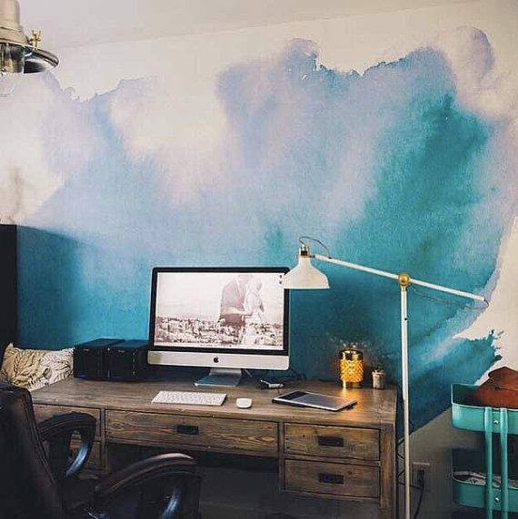 """Watercolor Wall Mural, Watercolor Wallpaper, - 150"""" x 108"""" -- mural is printed on traditional paste and glue wallpaper. high quality matte finish"""