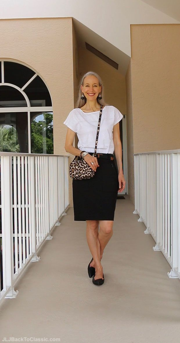 (Video Chat & OOTD) Classic Fashion Over 40/50: Warm-Weather Fall Skirt Outfit, Pairing Black and White With Camel
