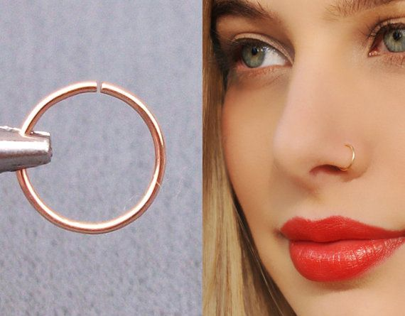 Rose Gold Nose Hoop Ring Cartilage Earring Tragus Nose Ring Eyebrow Hoop Super…