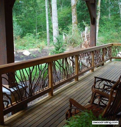 Mountain Laurel Handrails use natural wood balusters to create wondrous designs from branches that have grown into a variety of shapes. Since each section is individually crafted, no two are ever the same and each takes on its own distinct form to create a railing system unmatched in visual interest.