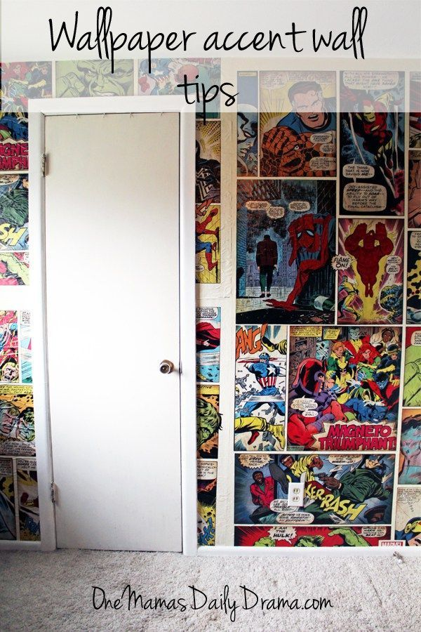 Wallpaper accent wall tips | One Mama's Daily Drama --- How to hand comic book wallpaper and create an accent wall. Check out the before and after pics!