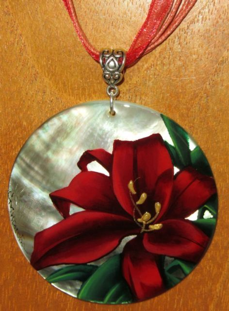 UNIQUE ART Russian Hand Painted Black Lip SHELL PENDANT RED LILY FLOWER Necklace | eBay