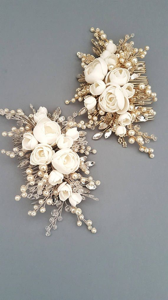 This beautiful handmade bridal hair comb made with pretty crystal elements, handcrafted flowers and ivory glass pearls. Complement most wedding hairstyles. It is the perfect bridal headpiece for that woman who wants to simply sparkle on her wedding day. ♥ Size approx 18 сm x 9 сm (7 x 3.5