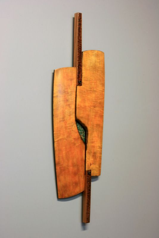 "Scott Roach  Imaginary voyage 2 48""T x 12""W x 2""D curly maple, sapele, copper"