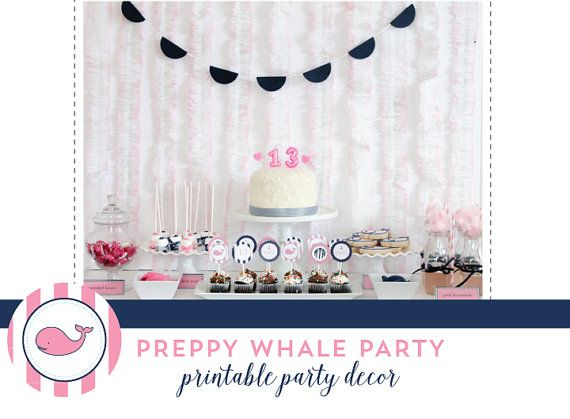 PRINTABLE PARTY COLLECTION  Preppy Whale by MirabelleCreations