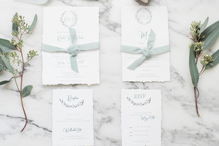 Wreath Invitation Suite/ Deckled Edge Invitation / Velvet Ribbon Invitation Card /Wedding Invitation Card /Greenery Invitation/Rustic Invite by BoxedWedding on Etsy