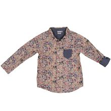 EBBE Leo Long sleeve shirt with elbow patch. Multi colour paint. Front