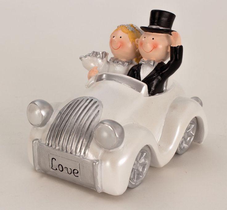 Spardose Hochzeitspaar im Auto - Höhe 12,5 cm - Länge 15 cm