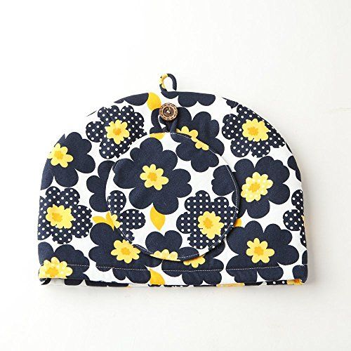 Northern European Style Navy Blue Flowered Cotton Cloth Tea Cozy with Teapot Coaster Handmade by Japanese Craftsman Navy Blue 11.02X7.87 Inch Made in Japan *** Want to know more, click on the image.