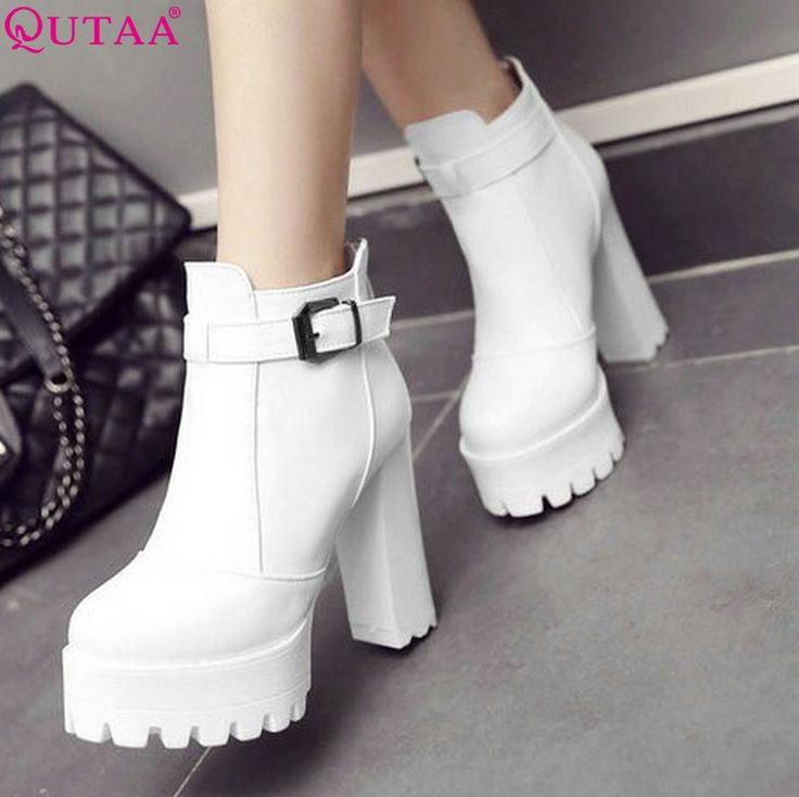 QUTAA White 2017 Fashion PU Leather Women Shoes Square High Heel Ankle Boots Buckle Women Motorcycle Boot Size 34-43