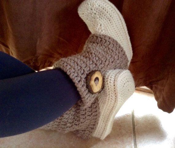 Crochet slipper boots womens slippers womens by DOVIESlovingKNITS