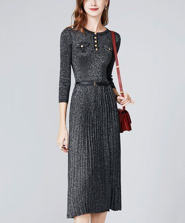 d165bf1792d4 This Black Metallic Belted Button-Front Midi Dress - Women is perfect!  #zulilyfinds