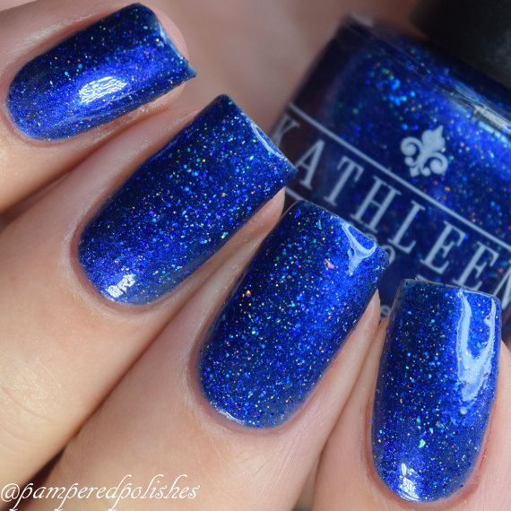 Blue Holographic Nail Polish Christen by kathleenandcopolish