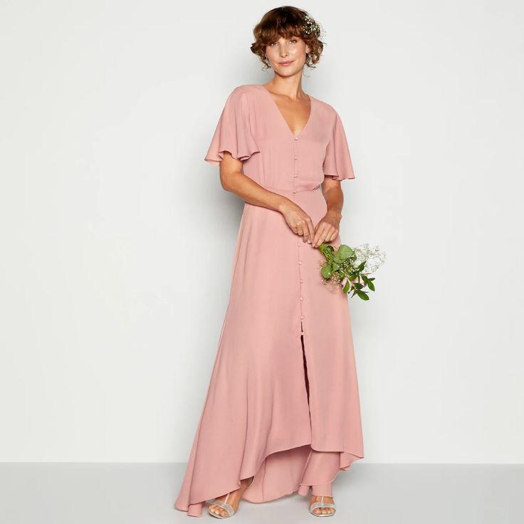 Debut Light Pink Button Through Maxi Dress Debenhams Button Debenhams Debut Dress Light Maxi Pink Dresses Maxi Dress With Sleeves Maxi Dress