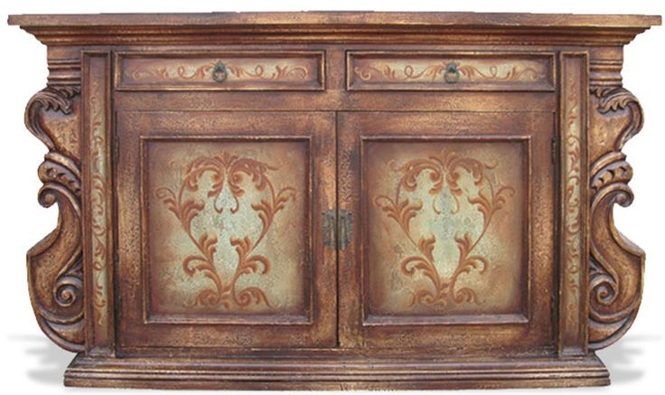 Hand Painted Mediterranean Buffet Manchester | The Koenig Collection - Unique Home Furnishings