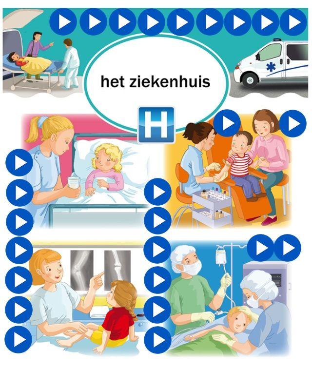 Interactieve praatplaat ziekenhuis, kleuteridee by juf Petra, met veel informatieve en educatieve video's