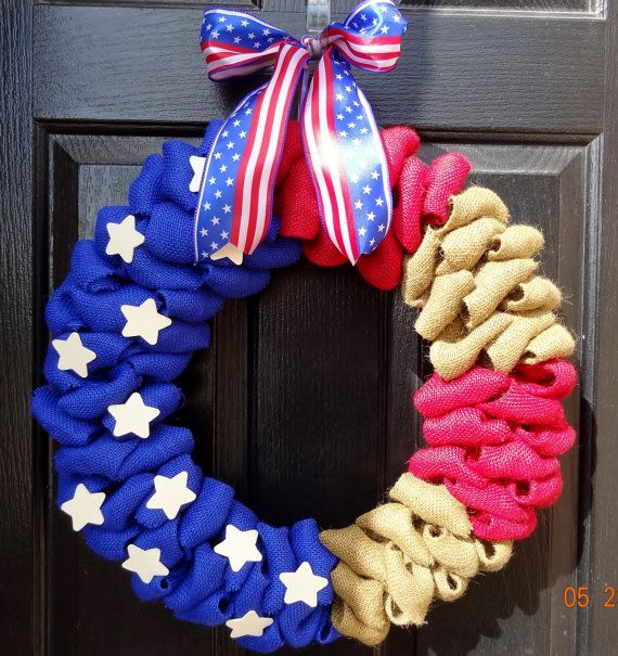 fourth of july burlap wreath