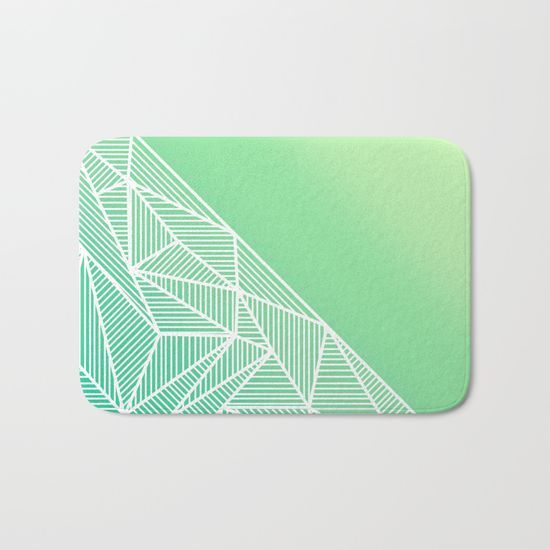 'B Rays Geo Gradient Green' Bath Mat By Fimbis   Society6  #mat #home #geometric #green #lime #white #stylish #fashion #interiors #interiordesign #home #homedecor #style #stripes #bathroom