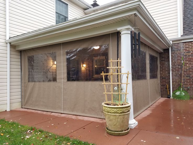 Enjoy Your Porch Year Round By Installing Clear Vinyl Drop Curtains. The  Curtains Can Store In The Up Position When Not In Use.