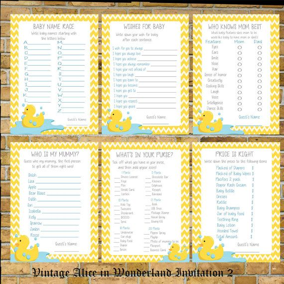 Rubber Duck Baby Shower Games Print your Own by CreativeShores