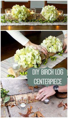 DIY Birch Log Centerpiece …